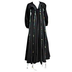 Zandra Rhodes Wool Felt Smock Coat w/ Bead Embellishment