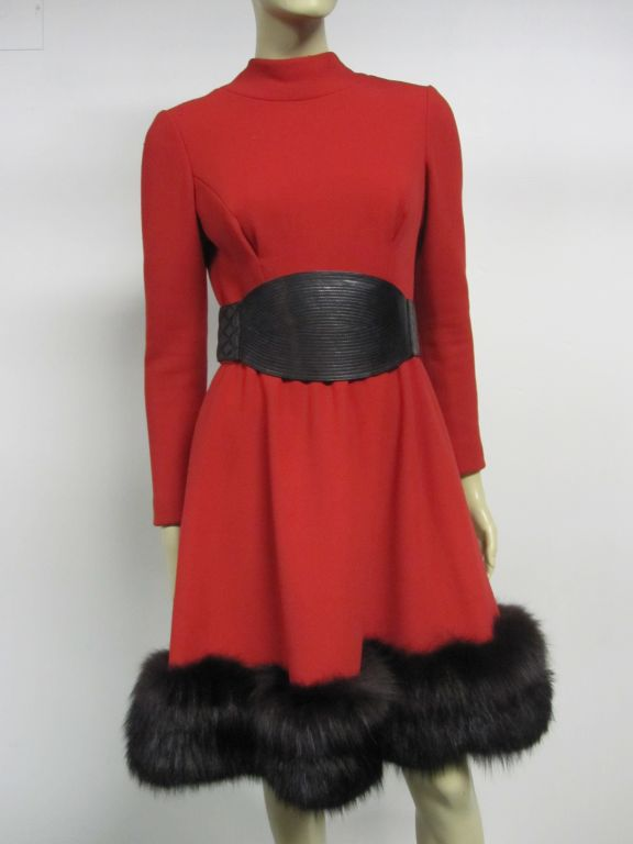 Pauline Trigere 60s Red Wool Dress w/ Back Buttons and Fox Hem 2