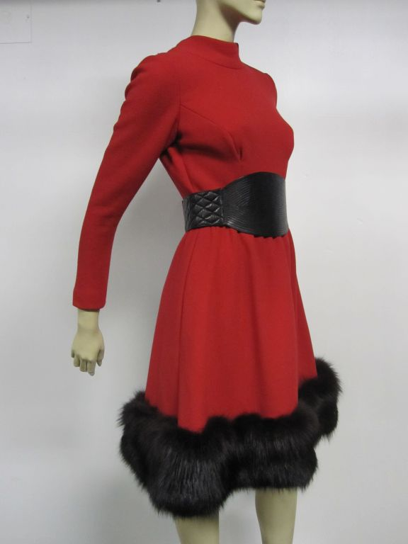 Pauline Trigere 60s Red Wool Dress w/ Back Buttons and Fox Hem 3