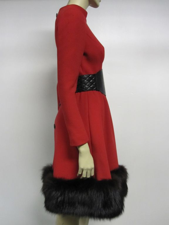 Pauline Trigere 60s Red Wool Dress w/ Back Buttons and Fox Hem 4