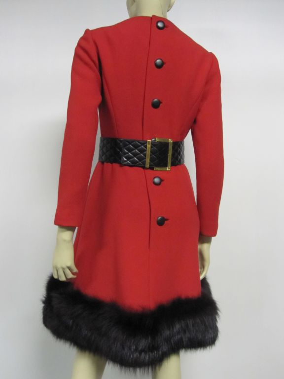 Pauline Trigere 60s Red Wool Dress w/ Back Buttons and Fox Hem 5