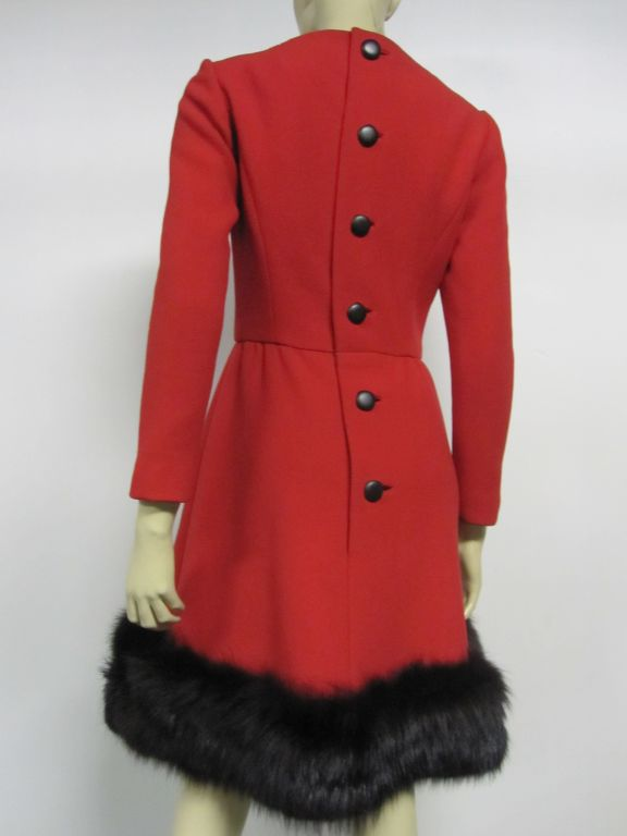 Pauline Trigere 60s Red Wool Dress w/ Back Buttons and Fox Hem 6