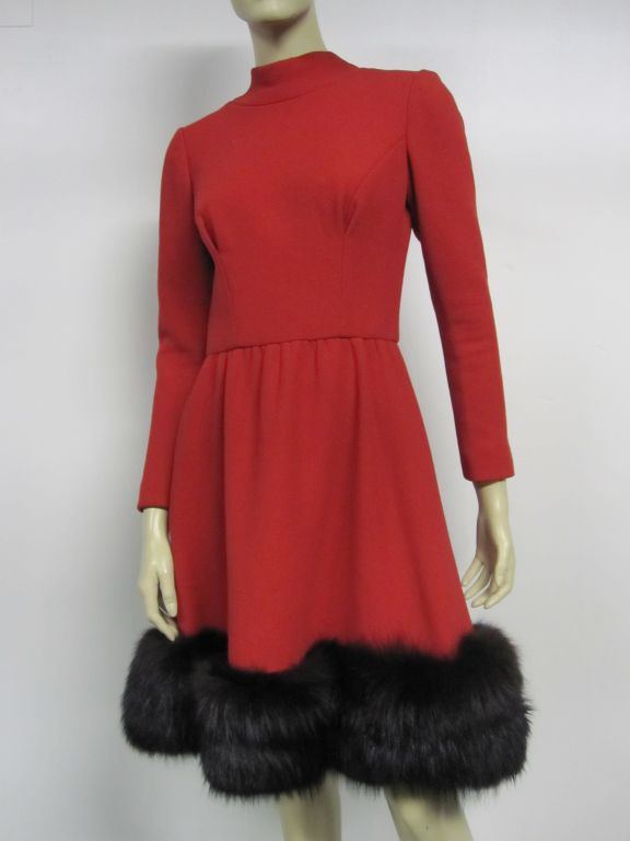 Pauline Trigere 60s Red Wool Dress w/ Back Buttons and Fox Hem 7