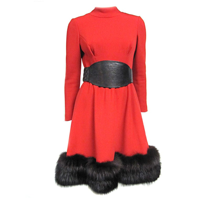 Pauline Trigere 60s Red Wool Dress w/ Back Buttons and Fox Hem 1