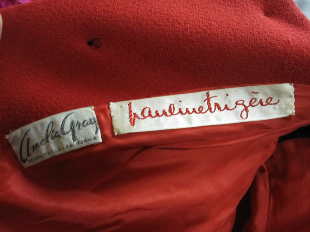 Pauline Trigere 60s Red Wool Dress w/ Back Buttons and Fox Hem 9