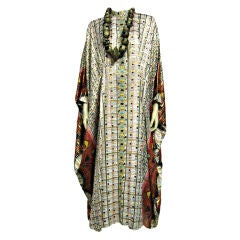 Saks Fifth Avenue Lamé Indian-Inspired Graphic Caftan