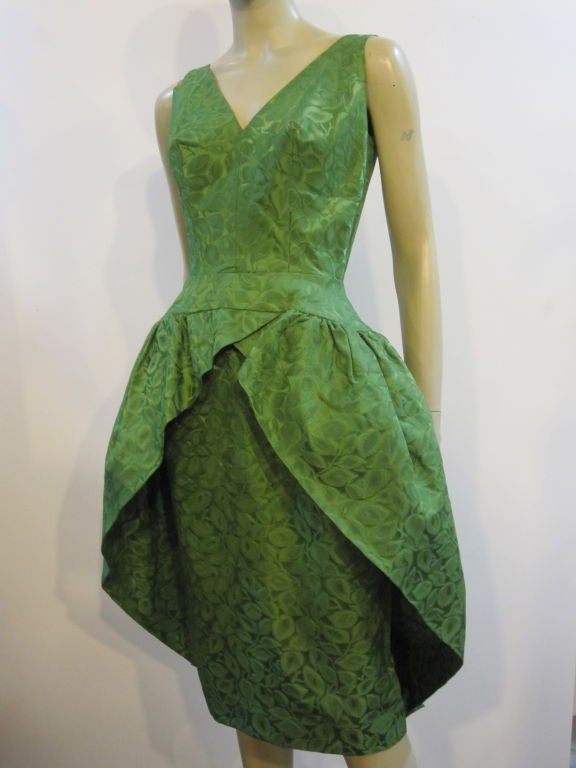 50s Brocade Tulip Cocktail Dress with Back Bow 2