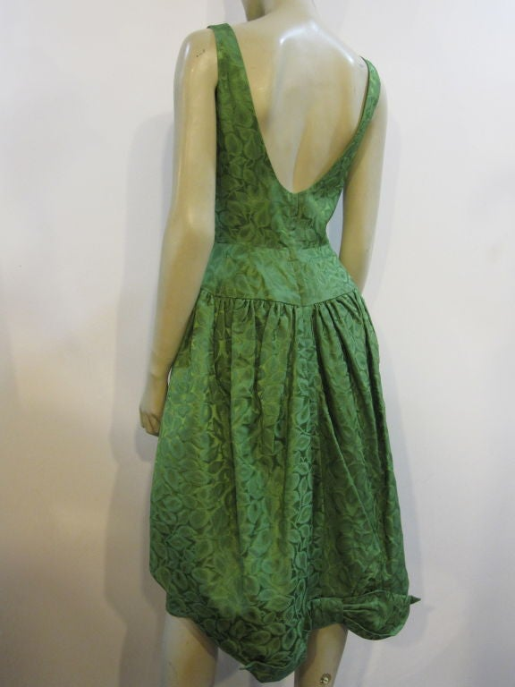 50s Brocade Tulip Cocktail Dress with Back Bow 3