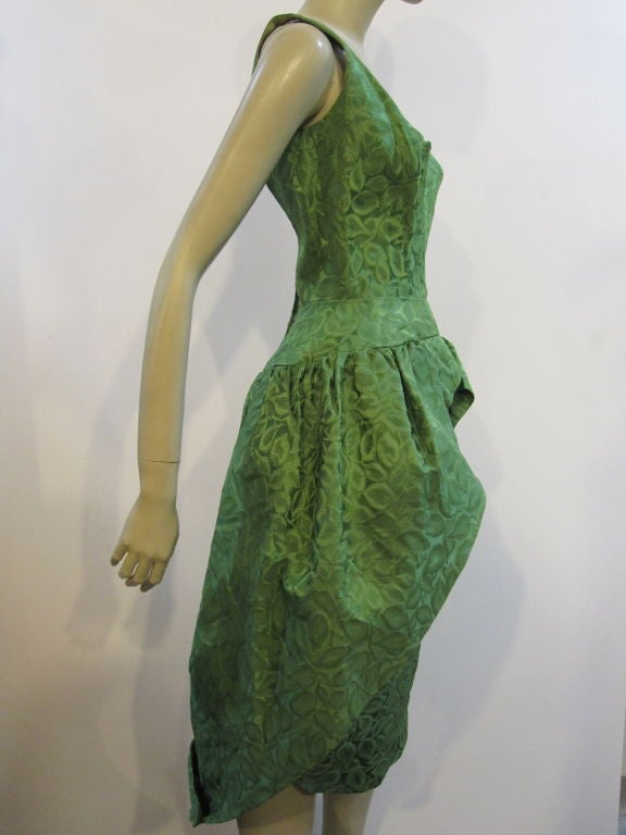50s Brocade Tulip Cocktail Dress with Back Bow 4