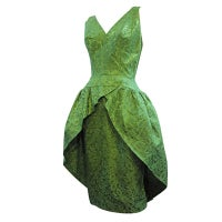 50s Brocade Tulip Cocktail Dress with Back Bow