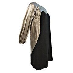 Geoffrey Beene Pewter Satin Trompe L'Oeil Silhouette Dress