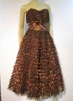 Amazing 50s Bronze Metallic Lace Ruffled Strapless Party Dress thumbnail 2