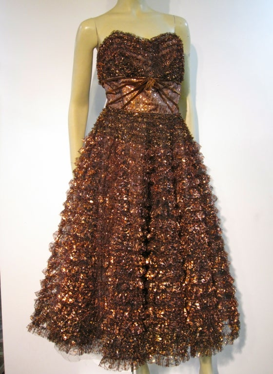 Amazing 50s Bronze Metallic Lace Ruffled Strapless Party Dress image 2