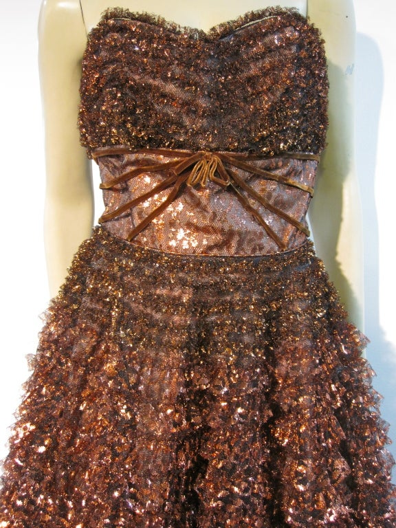 Amazing 50s Bronze Metallic Lace Ruffled Strapless Party Dress image 3