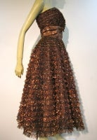 Amazing 50s Bronze Metallic Lace Ruffled Strapless Party Dress thumbnail 4