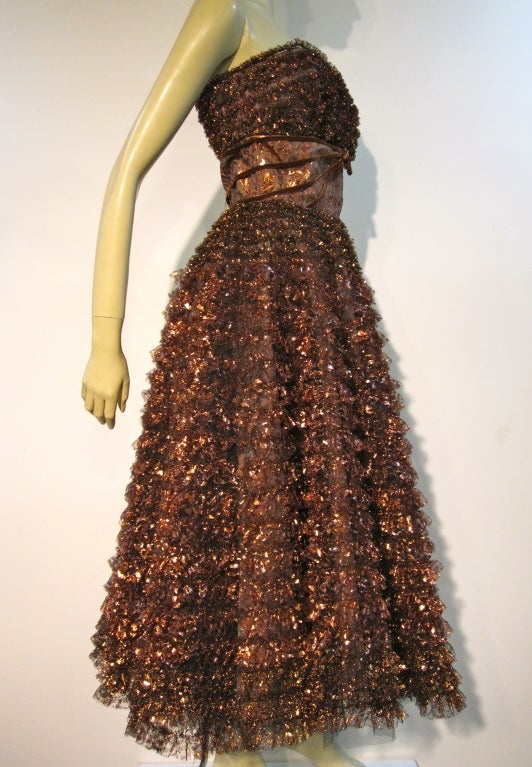 Amazing 50s Bronze Metallic Lace Ruffled Strapless Party Dress image 4