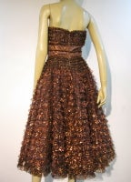 Amazing 50s Bronze Metallic Lace Ruffled Strapless Party Dress thumbnail 5