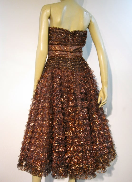 Amazing 50s Bronze Metallic Lace Ruffled Strapless Party Dress image 6