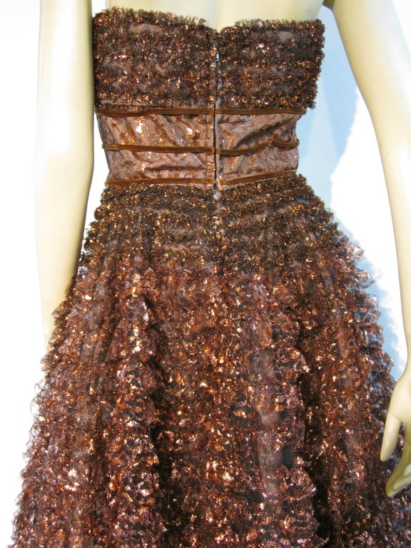 Amazing 50s Bronze Metallic Lace Ruffled Strapless Party Dress image 7