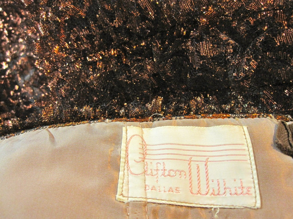 Amazing 50s Bronze Metallic Lace Ruffled Strapless Party Dress image 8