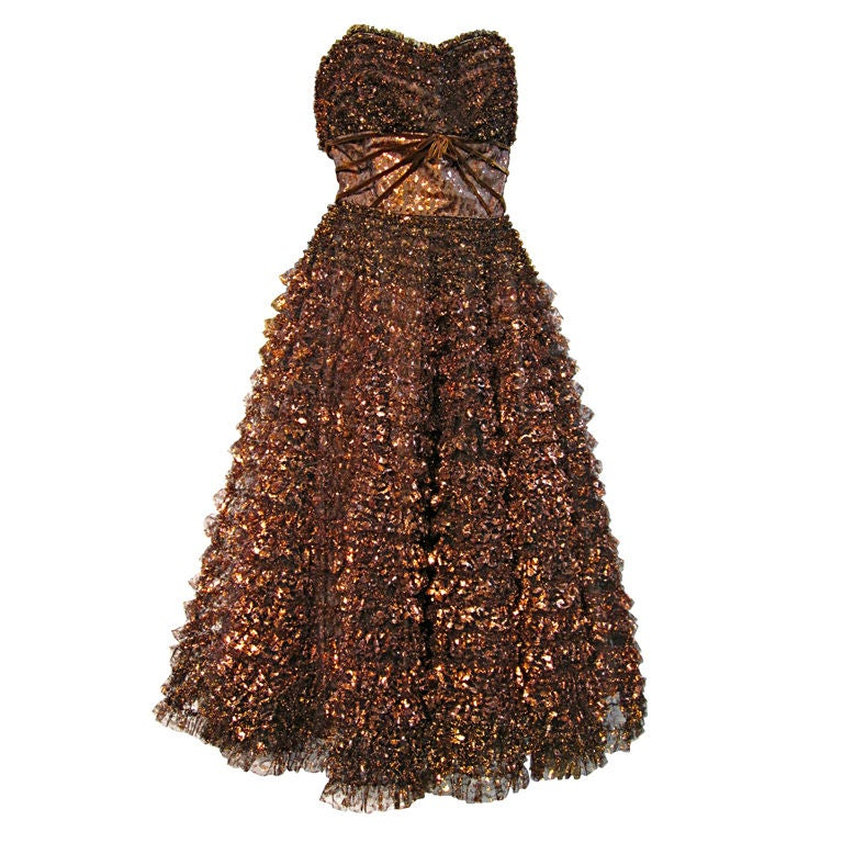 Amazing 50s Bronze Metallic Lace Ruffled Strapless Party Dress