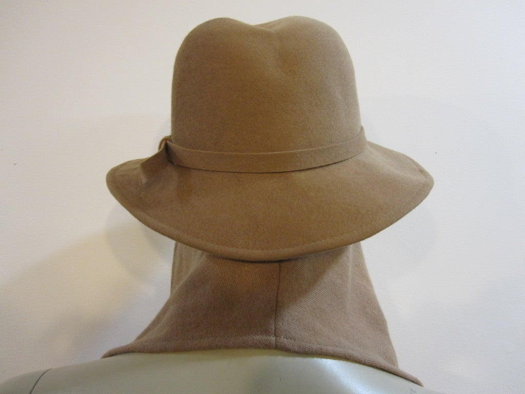 Knitting Pattern For Hat With Scarf Attached : Adolfo Camel Wool Felt Fedora with Attached Scarf at 1stdibs