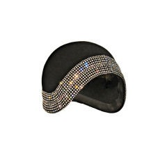 Leslie James 60s-Does-20s Felt and Rhinestone Cloche