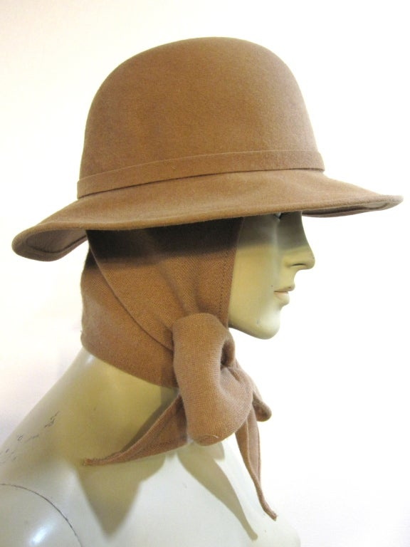 Adolfo Camel Wool Felt Fedora With Attached Scarf At 1stdibs