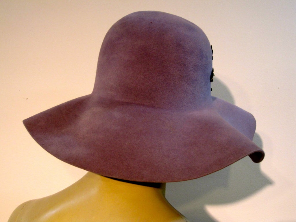 70s Floppy Brim Lavender Felt Borsalino Ladies Hat with Flowers 5