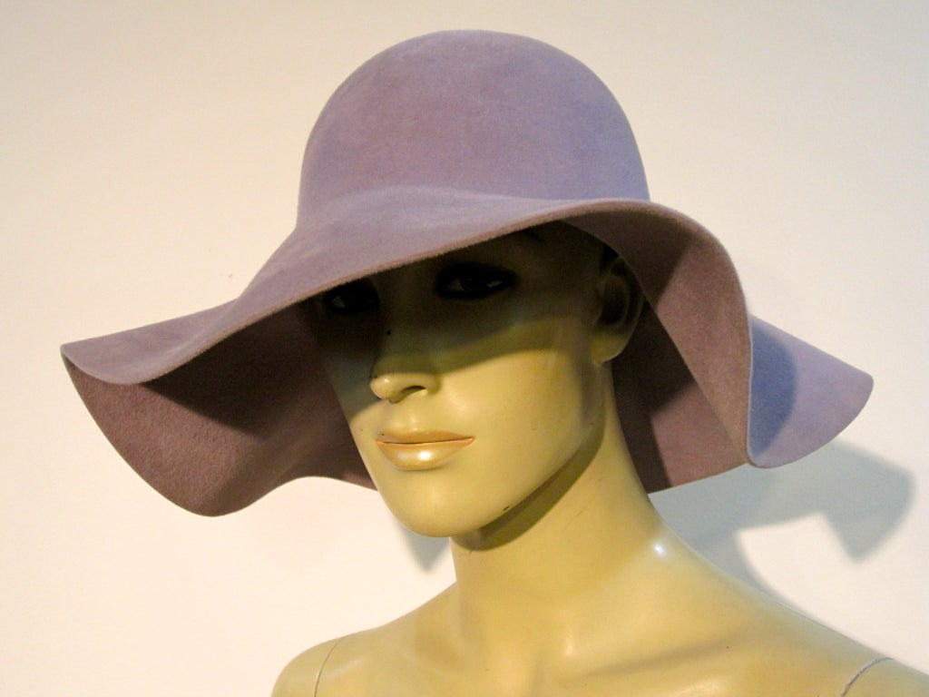 70s Floppy Brim Lavender Felt Borsalino Ladies Hat with Flowers 6