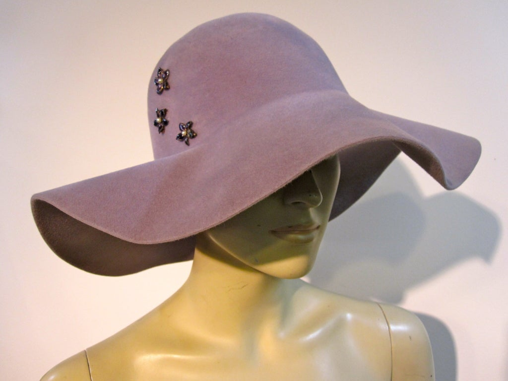 70s Floppy Brim Lavender Felt Borsalino Ladies Hat with Flowers 2