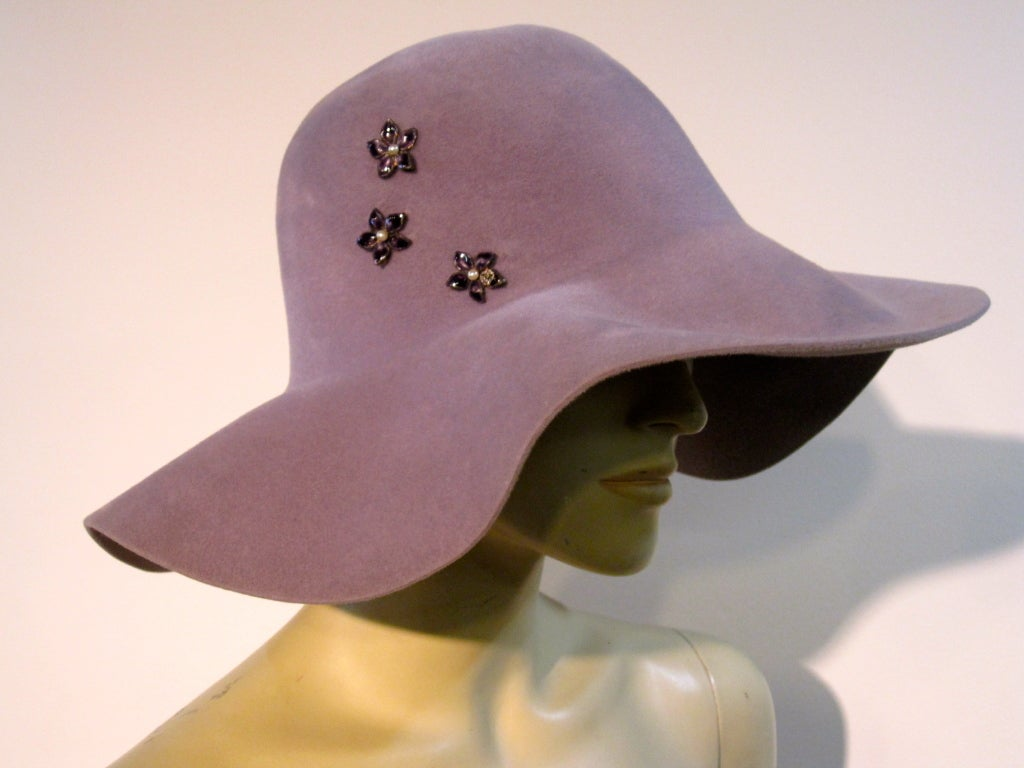 70s Floppy Brim Lavender Felt Borsalino Ladies Hat with Flowers 3