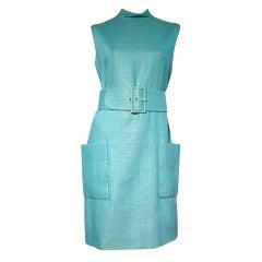 Norman Norell For I. Magnin Turquoise Linen Shift Dress w/ Belt