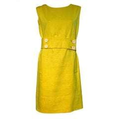 Norman Norell 60s Chartreuse Linen Shift Dress with Belt