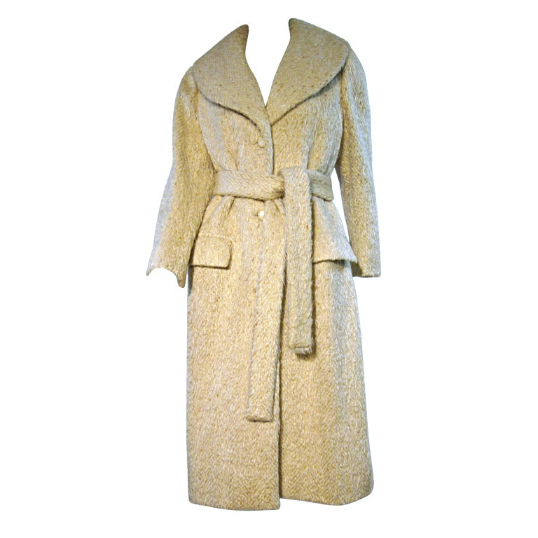 Norell 50s Mohair Tweed Belted Coat in Beige For Sale at 1stdibs