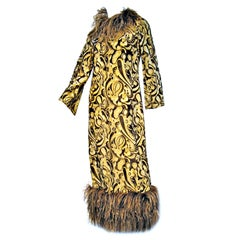 Bill Blass 60s Over-The-Top Paisley Lamé Gown w/ Ostrich Trim