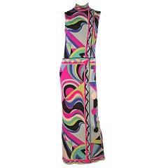 60s Emilio Pucci Jersey Maxi Dress in Spectacular Print
