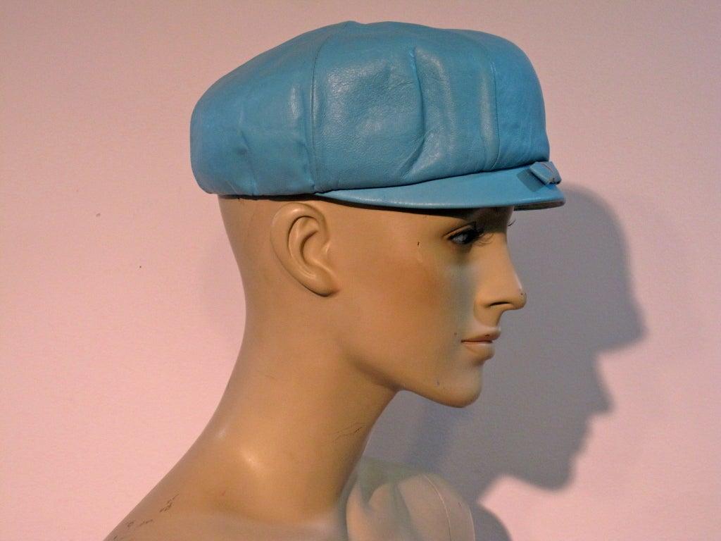 mod 60s sky blue leather hat at 1stdibs