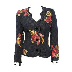 Amen Wardy 80s Floral Brocade Evening Jacket with Beading