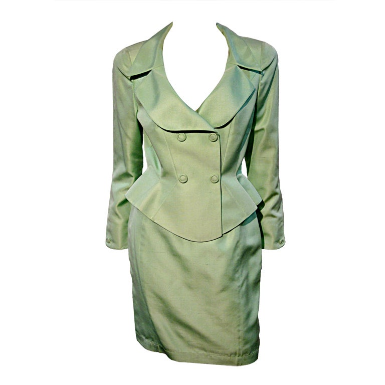 Thierry Mugler Spring Green Skirt Suit with Curvaceous Tailoring 1