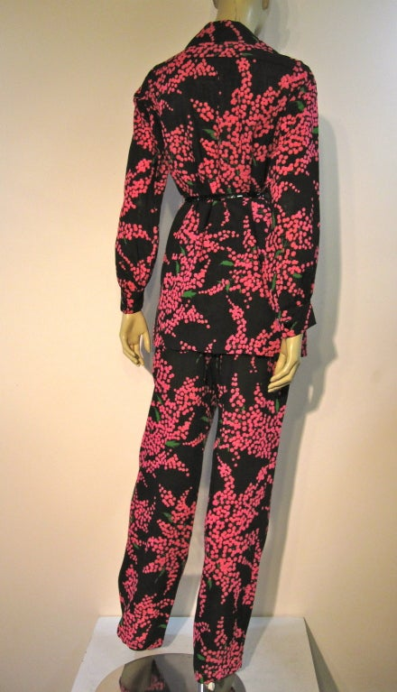 Yves Saint Laurent 70 S Pant Suit W Electric Pink Floral