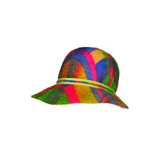 Mod 60s Ethel Atkins Madras Plaid Mohair Hat