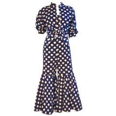 Teal Traina 1966 Cotton Polka-Dot Jumpsuit and Jacket