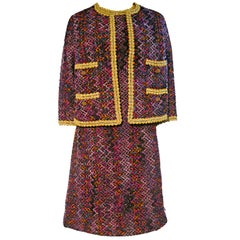 "60s ""Chanel"" Style Ribbon and Yarn Novelty Fabric Dress & Jacket"