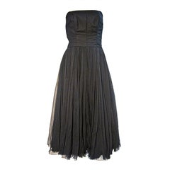 James Galanos Early 50s Cocktail Dress in Wool and Silk Chiffon