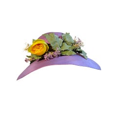Irene of New York French Lavender Straw w/ Open  Net Crown