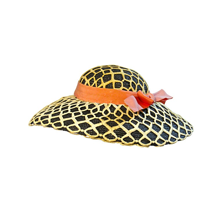 Lilly Daché 50s Black Straw Sun Hat w/ Heavy Lace Overlay