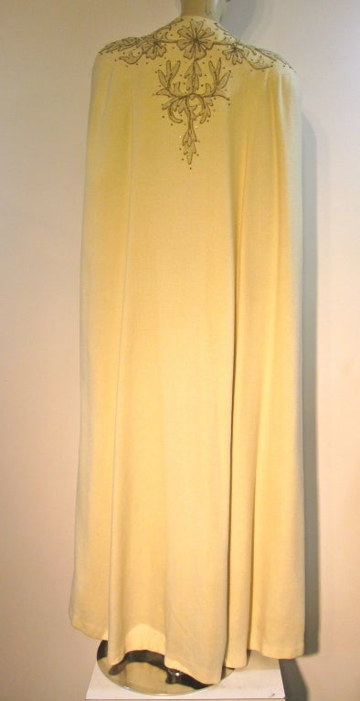 Late 30s Ter 233 Se Embellished Evening Cape Gown And Turban
