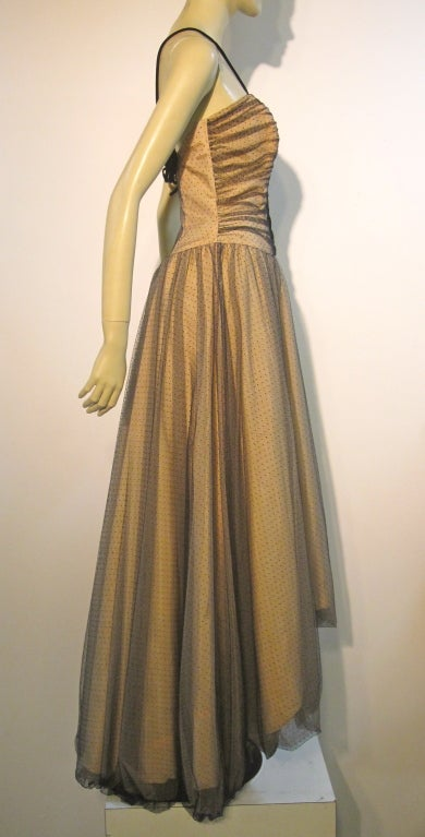 Brown 50s Will Steinman Tulle Gown in Nude and Black w/ Bubble Hem For Sale