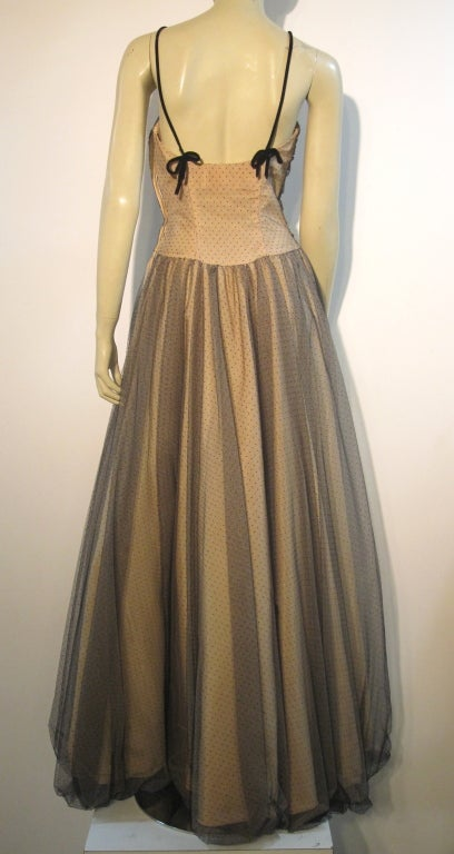 Women's 50s Will Steinman Tulle Gown in Nude and Black w/ Bubble Hem For Sale